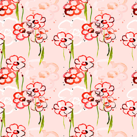Beautiful abstract poppies, hand drawn watercolor illustration, seamless pattern
