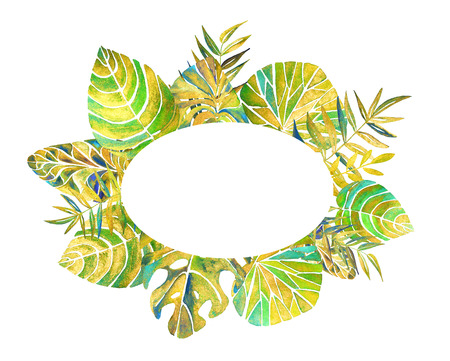 Background with pearl tropical branches and leaves. Frame, greeting, invitation card, cover of notebook. Watercolor painting