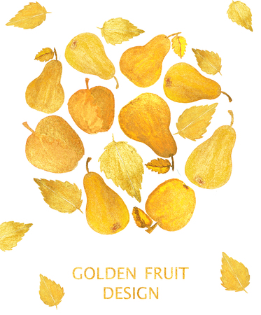 golden apple: Circle with beautiful golden apples and pears on white background. Watercolor painting