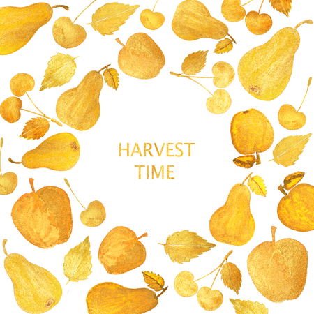 golden apple: Frame with beautiful golden cherries, pears and apples on white background. Watercolor painting. Text - Harvest Time