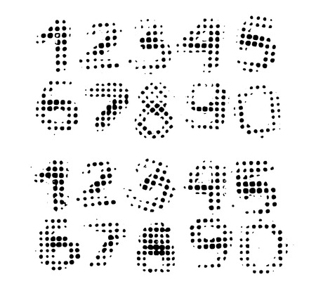 Set with grunge numbers, real halftone paint prints on white background
