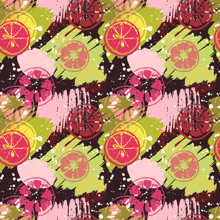 Seamless pattern with citrus fruits on abstract watercolor stains, paint brushes, lemon, orange, grapefruit