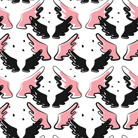 Seamless pattern with black and pink wings on white background Illustration