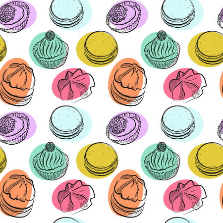 Seamless pattern with different sweet cakes, vector illustration