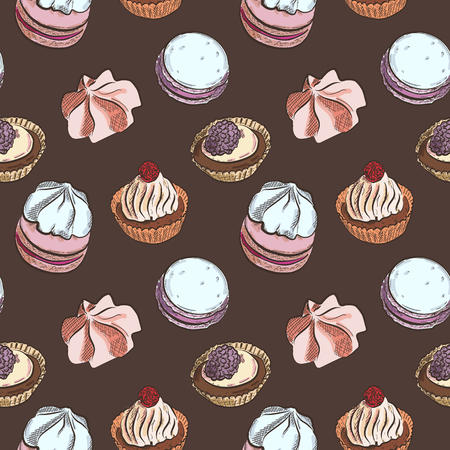 Seamless pattern with different sweet cakes on brown background, vector illustration Illustration