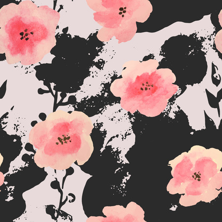 Watercolor pink flowers on black grunge stains, seamless pattern