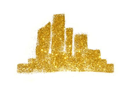 Silhouette of city of golden glitter, cityscape on white background Stock Photo