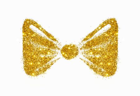 Ribbon bow of golden glitter on white background