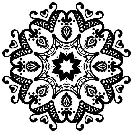Black mandala on white background. Vector ornament for your design Illustration