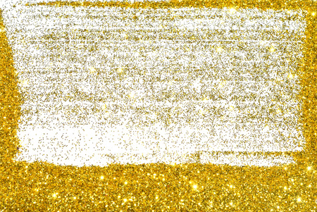 Rectangle frame of golden glitter sparkle on white background, empty greeting card, flyer, invitation etc.