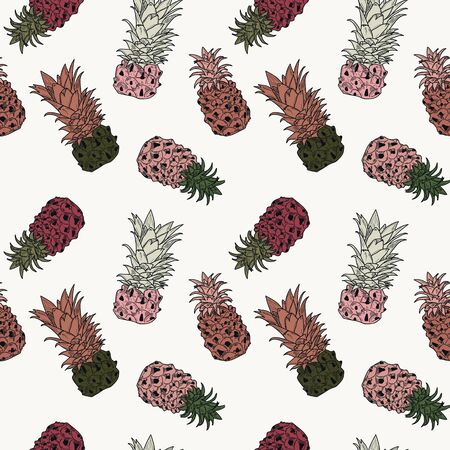 Sketch colorful pineapples hand drawn on white background, seamless pattern