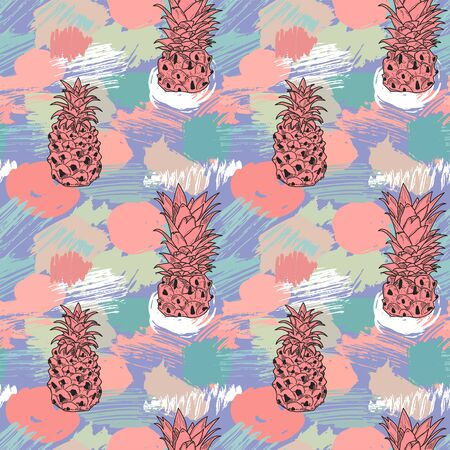 Sketch pineapples hand drawn on background with colorful watercolor splashes and brush strokes, seamless pattern
