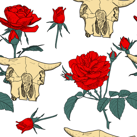 Beautiful seamless pattern with hand drawn skull of an animal and red roses