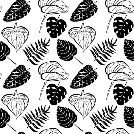 Seamless pattern with flowers of Calla Lily and tropical leaves in black and white colors Illustration