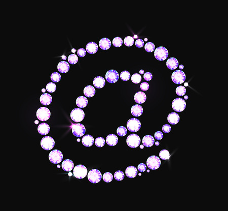 E-mail internet icon made with precious gems or rhinestones on black background