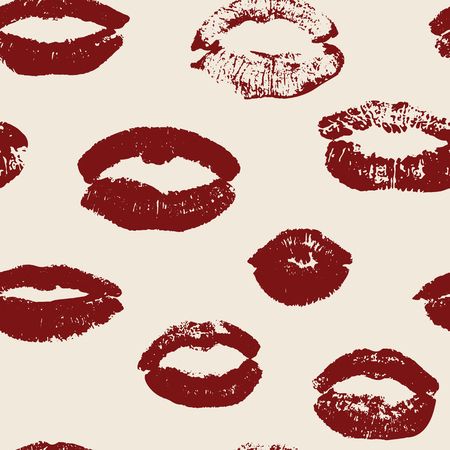 Seamless pattern with red women lips on pink background