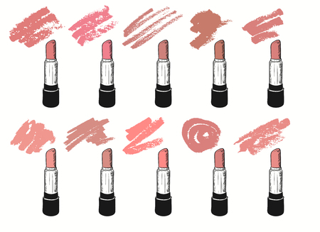 Ensemble d'images vectorielles avec des nuances tendance de rouge à lèvres sur fond blanc. Illustration dans le style grunge avec des rouges à lèvres et des frottis.