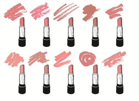 Vector con tonos de lápiz labial de moda sobre fondo blanco. Ilustración de estilo grunge con barras de labios y frotis.
