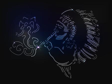 Gem on the black background