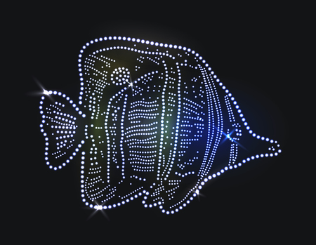 Beautiful fish made with precious gems on black background