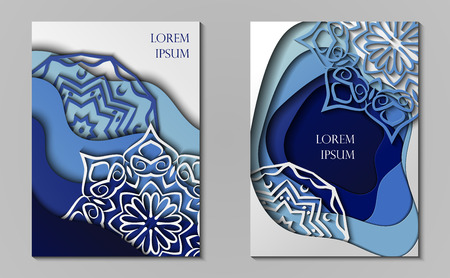 Two cards in paper cut, minimal template design. Abstract paper waves, layers, 3d art. Vector illustration
