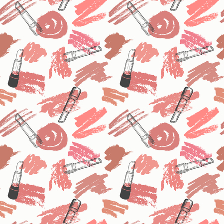 Vector seamless pattern with trendy shades of lipstick on white background. Illustration in grunge sketch style with lipsticks and smears. Beauty and fashion concept Illustration