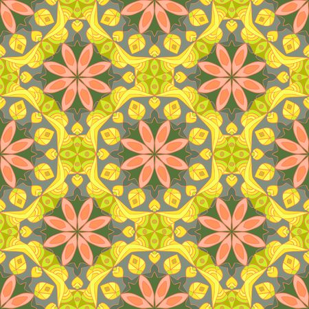 Seamless pattern with mandalas in beautiful colors. Vector background