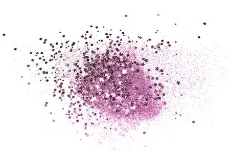 Purple glitter sparkles on white background. Beautiful abstract backdrop for vip design, fashion, beauty, make up, nail art, shopping cards