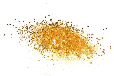 Gold glitter and glittering stars on white background in vintage colors Stock Photo