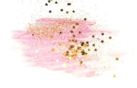 Golden watercolor splash on white background