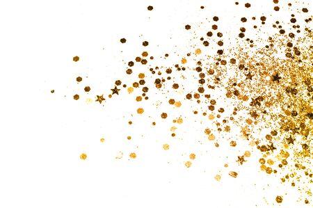 Goldglitter und glitzernde Sterne auf weißem Hintergrund in Vintage-Farben Standard-Bild
