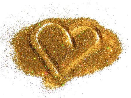 Heart of holographic golden glitter sparkle on white
