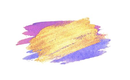 Abstract golden, pink and blue watercolor stains on white background for your design.