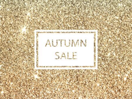 Background with frame and golden glitter in vintage colors.