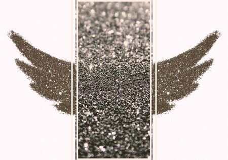 Abstract wings of black glitter and rectangular place for text, interesting and beautiful frame for your design Stock Photo