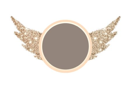 Abstract wings of golden glitter and round place for text on white background, interesting and beautiful frame for your design