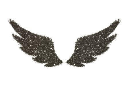 Abstract wings of black glitter on white background - interesting and beautiful element for your design Stock Photo