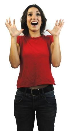 Portrait of a young surprised woman with red shirt, jeans and white background