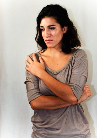 edelegance: Portrait of young and  beautiful woman very sad Stock Photo