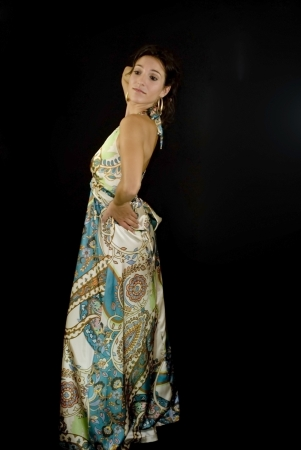 Beautiful woman with colorful dress on black background Stock Photo - 15980781