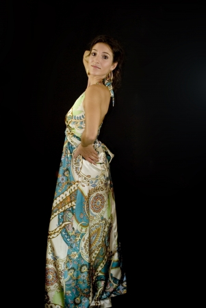 Beautiful woman with colorful dress on black background Stock Photo - 15980769