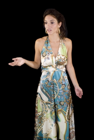 Beautiful woman with colorful dress on black background Stock Photo - 15980774