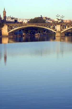 Triana in Seville at dawn near the river Guadalquivir Stock Photo