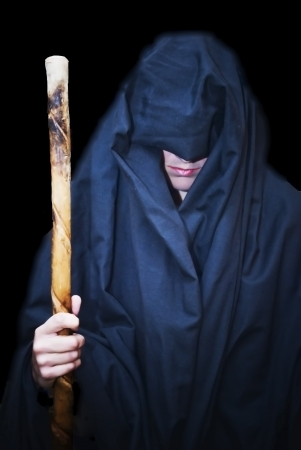 Portrait of a beautiful woman in medieval tunic and walking stick Stock Photo - 17471867