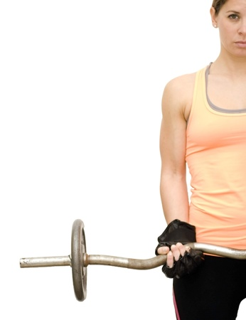 Beautiful woman lifting weights on white background Stock Photo