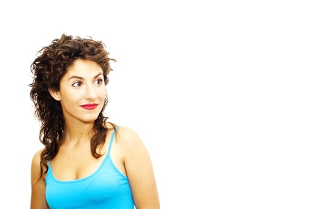 Portrait of young beautiful woman with blue shirt on white background