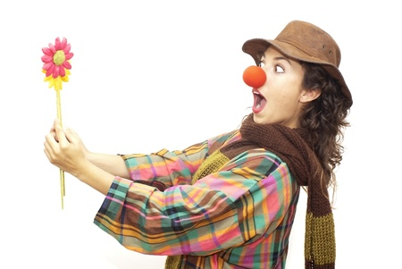 Woman clown on white background
