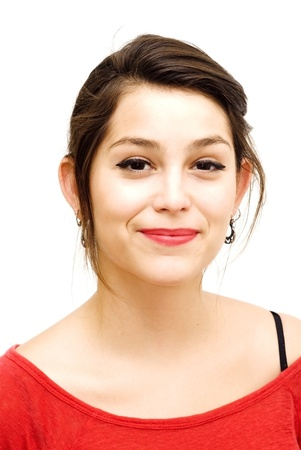 Portrait of a young  frightened woman with red shirt over white background Stock Photo