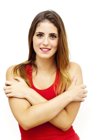 Portrait of a young  woman with red shirt over white background photo
