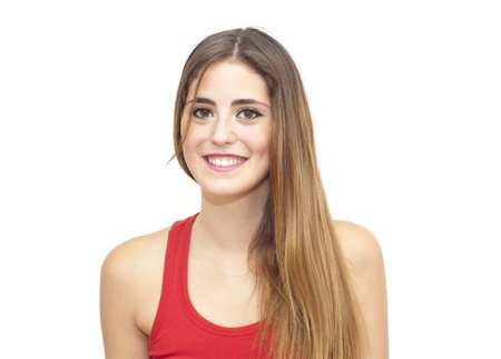 Portrait of a young  woman with red shirt over white background